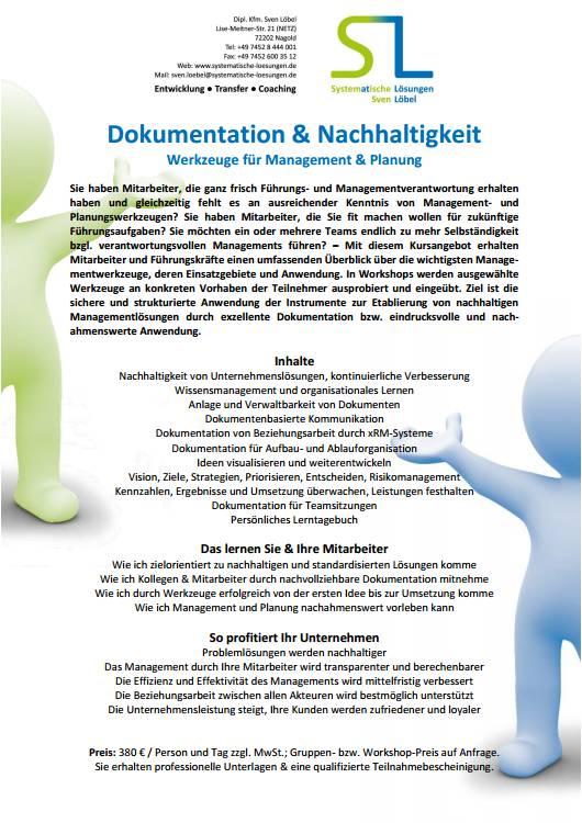 Dokumentation & Nachhaltigkeit - Werkzeuge für Management & Planung