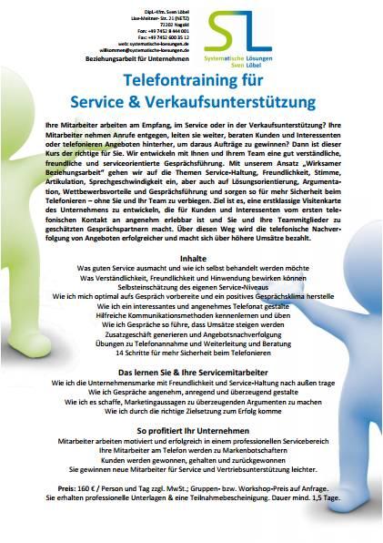 TTSV - Telefontraining für Service & Vertriebsunterstützung - SL Beziehungsarbeit