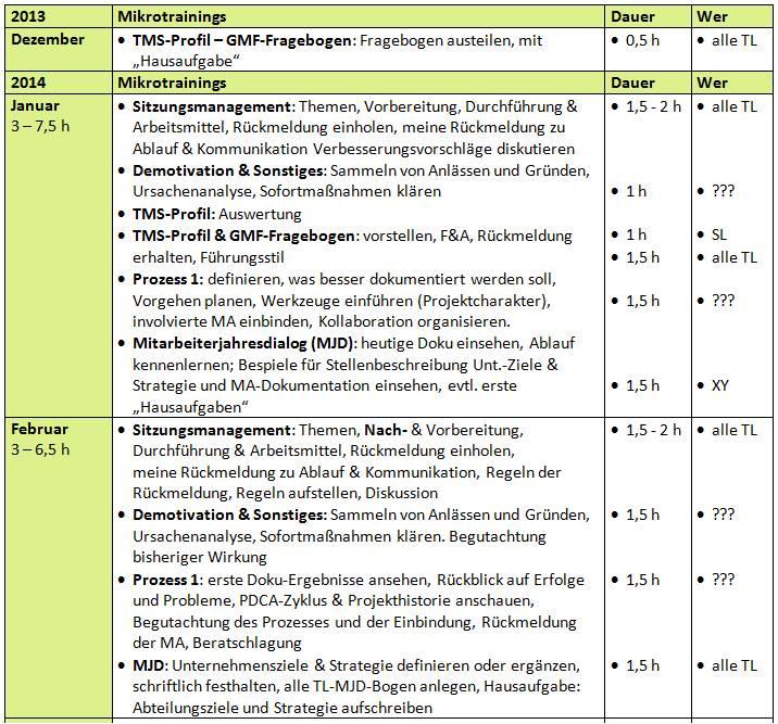 Mikrotrainings, Entwicklung, Transfer, Coaching